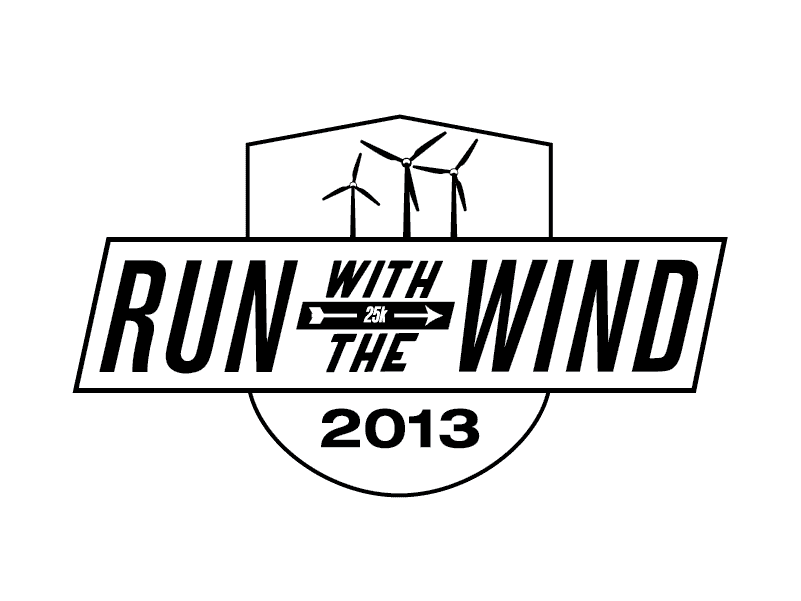 Badge that says Run with the Wind with windmills on top and the year 2013 at the bottom