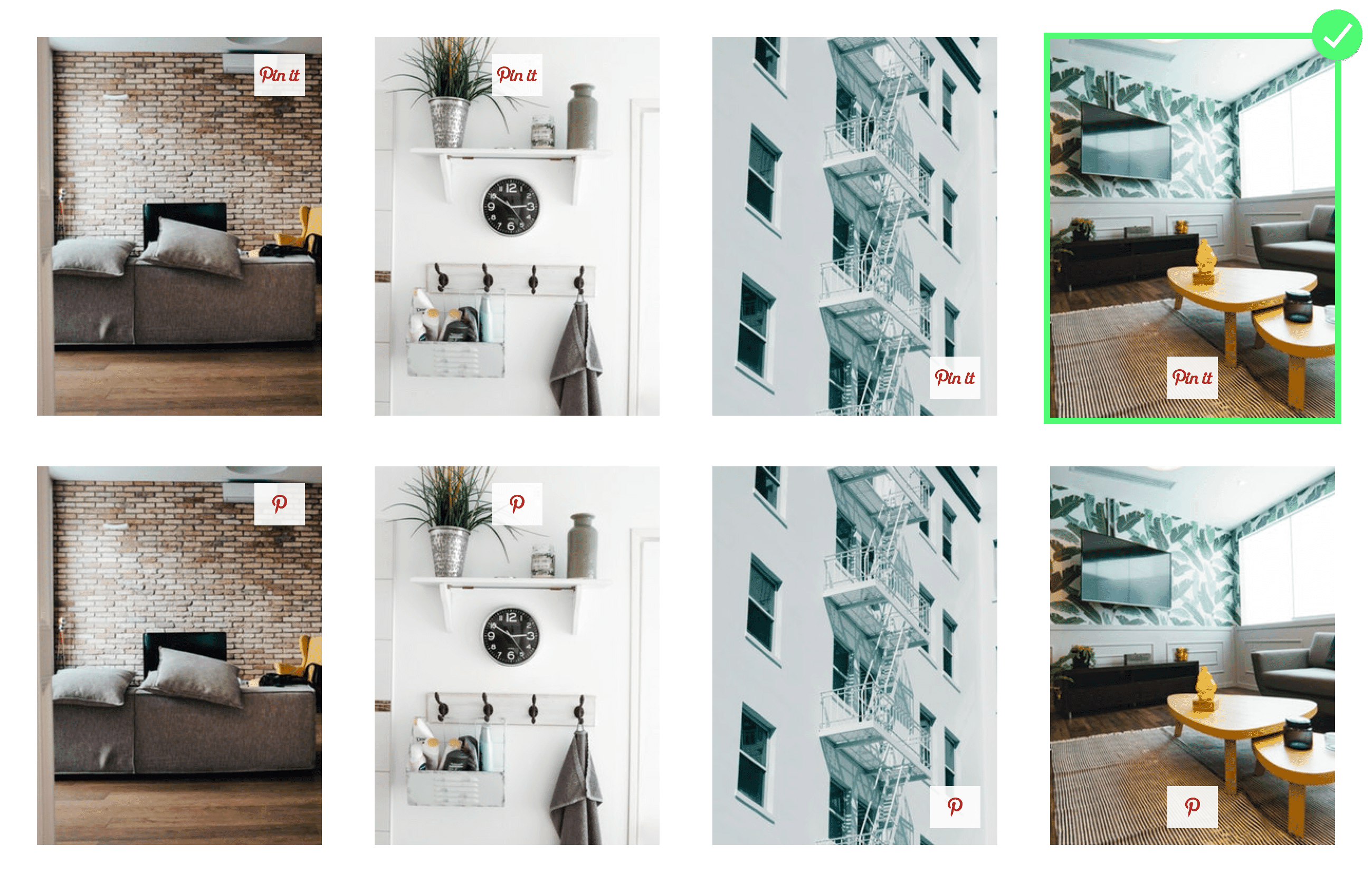 8 photos with icons for Pinterest with a green checkmark on the 'winning' option