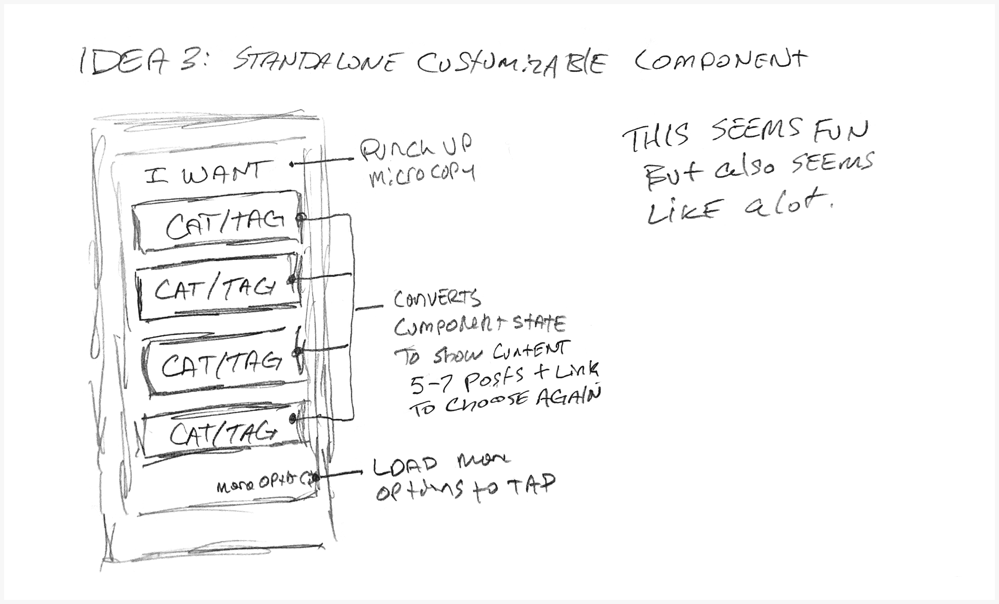 A sketch for a custom content experience with user selectable options