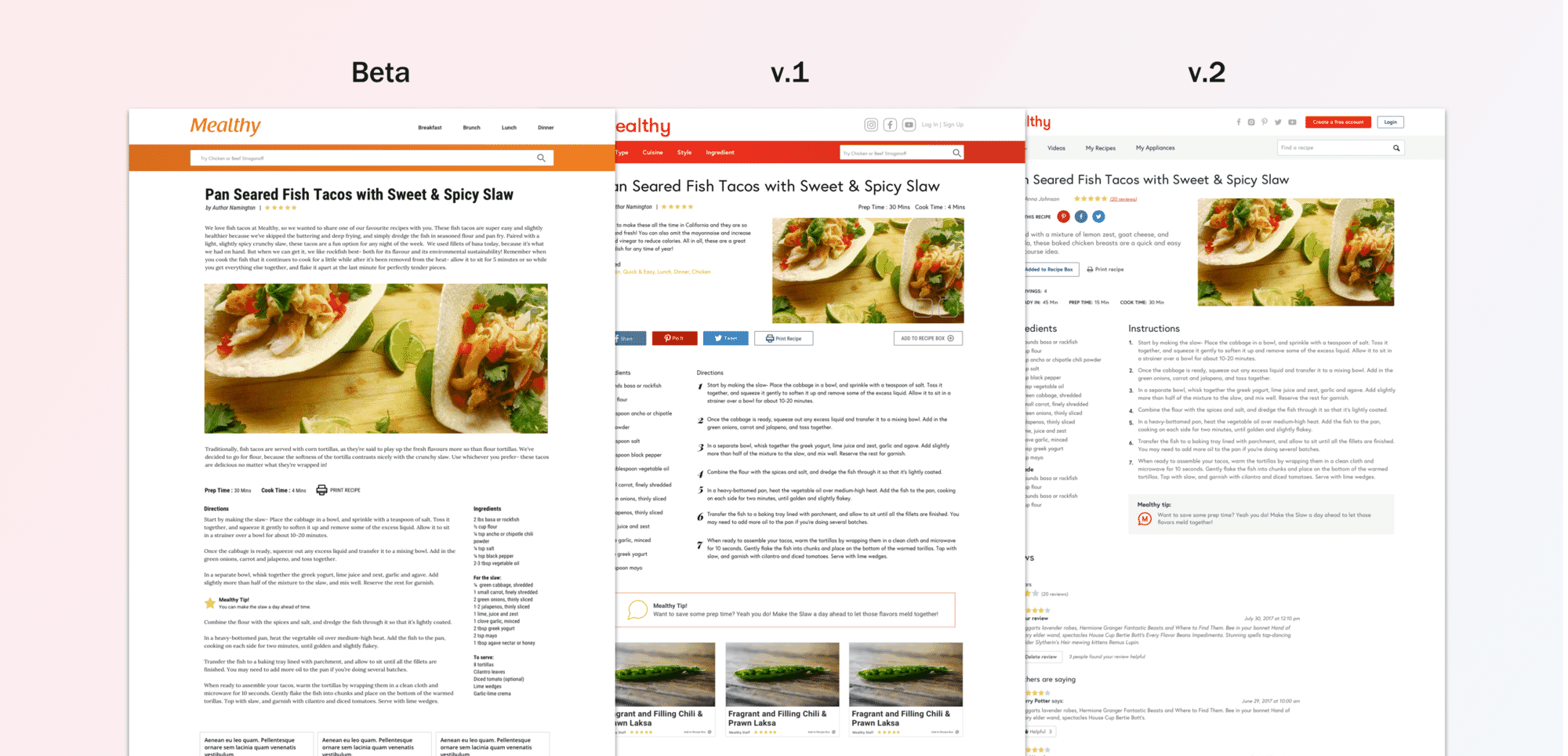 the progression of the recipe page over several months