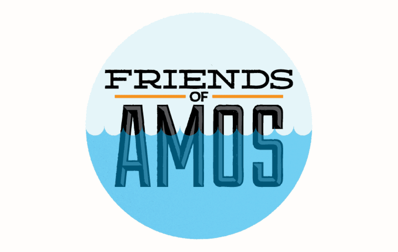 The words 'Friends of Amos' partially submerged in water